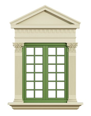 white window: Front view of a classic window with Corinthian column and triangular tympanum isolated on white - 3d Rendering Stock Photo