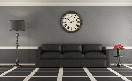 old furniture: Classic living room with black sofa and gary wall - 3d rendering Stock Photo