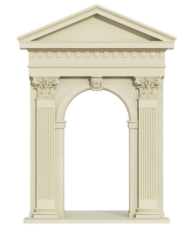corinthian column: Front view of a classic arch with Corinthian column and triangular tympanum isolated on white - 3d Rendering Stock Photo