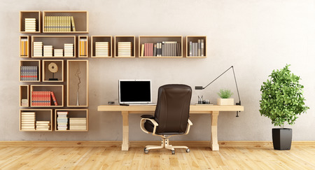 work book: Home office with wooden bookcase and classic desk- 3d rendering