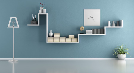 blue wall: Empty blue living room with shelf and floor lamp - 3d rendering