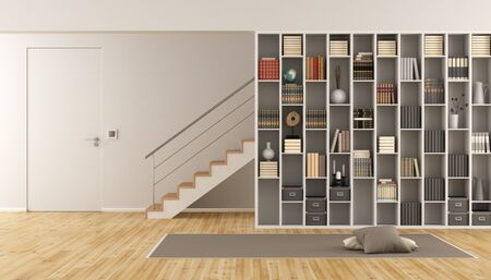 Modern Living room with bookcase ,staircase and closed door - 3d rendering Stok Fotoğraf