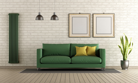 wood floor: Modern living room with green sofa and vertical heater on brick wall - 3d rendering