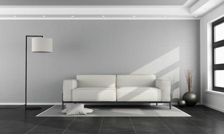 白いソファ、灰色の壁と黒のシンプルなリビング ルーム床の 3 d レンダリング