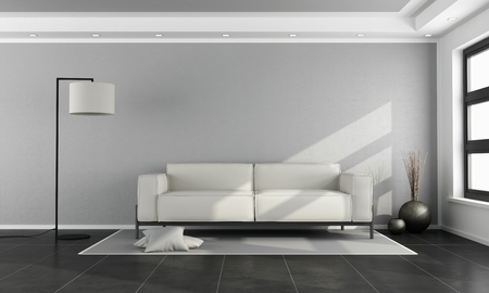 salon Minimaliste avec canapé blanc, mur gris et sol noir - rendu 3d Banque d'images