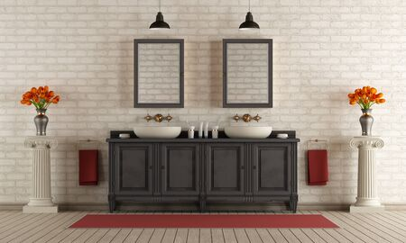 pedestal sink: Bathroom in classic style with double sink and brick wall - 3d rendering