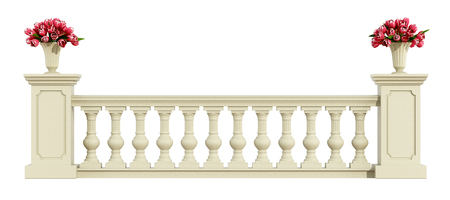 Classic balustrade with roses isolated on white background - 3d rendering