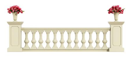 Balustrade classique avec des roses isolé sur fond blanc - rendu 3d Banque d'images - 69839520