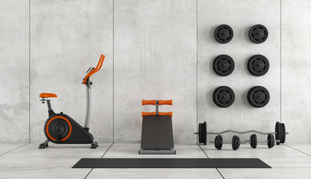 Concrete room with stationary bike, abdominal bench and weight - 3d rendering Фото со стока
