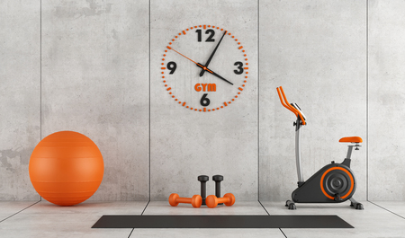 Concrete room with stationary bike, pilates ball and hand weight - 3d rendering 스톡 콘텐츠