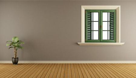 Empty living room with wooden window and brown wall - 3d rendering Stok Fotoğraf