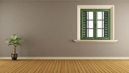 Sala de estar vacía con ventana de madera y pared marrón - representación 3d Foto de archivo - 70298646