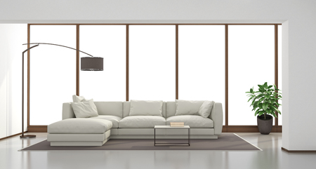 white window: Minimalist living room with white sofa and large window on background - 3d rendering