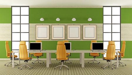 comfort room: Modern boardroom with large meeting table with laptop - 3d rendering Stock Photo