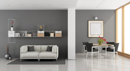 living room sofa: Modern living room room with sofa,dining table and bookcase- 3D Rendering