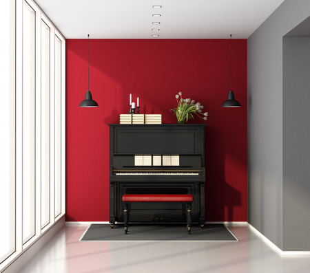 Little music room with black upright piano - 3d rendering Stock Photo