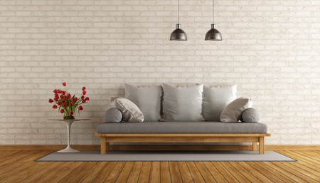 room wall: Living room with wooden sofa and brick wall - 3d rendering Stock Photo