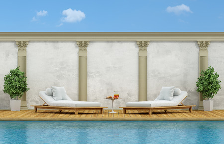 pilaster: Outdoor swimming pool with white chaise pool lounge - 3d rendering