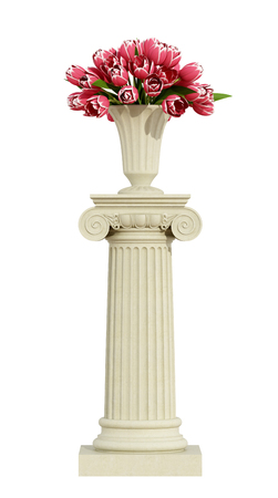 pilaster: Ionic pedestal with roses isolated om white background Stock Photo