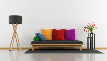 living room sofa: Minimalist living room with colorful wooden sofa - 3d rendering Stock Photo