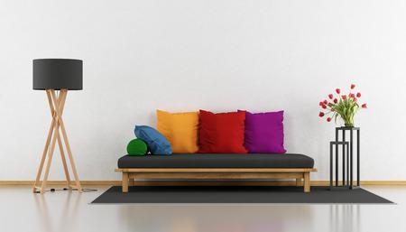 Salon minimaliste avec canapé en bois coloré - rendu 3D Banque d'images - 70943479