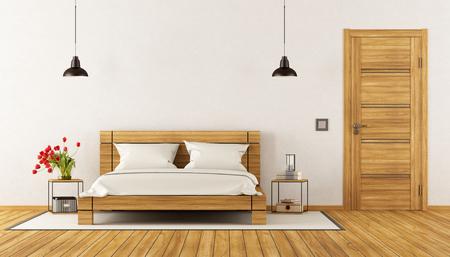 nightstand: Modern Bedroom with wooden bed,nightstand and closed door - 3d rendering Stock Photo