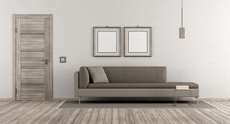 Modern living room with wooden door and contemporary sofa on white wall - 3d rendering