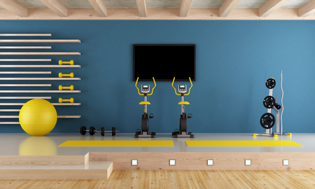 Blue room with spinning bike, pilates ball and hand weight - 3d rendering