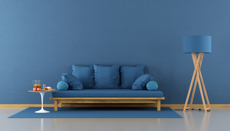 Blue modern living room with wooden sofa with cushion - 3d rendering