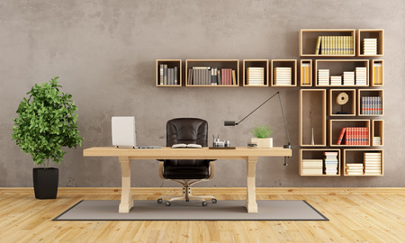 study: Office with wooden furniture with classic desk and bookcase on wall - 3d rendering