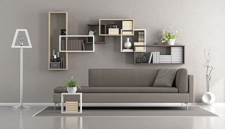 Contemporary living room with sofa and bookcase on wall - 3d rendering
