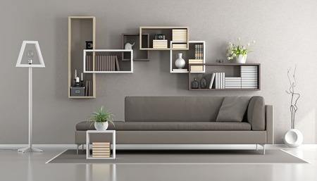 Eigentijdse woonkamer met bank en boekenkast op de muur - 3D-weergave
