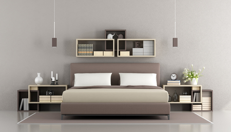 nightstand: Contemporary bedroom with double bed,nightstand and bookcase on wall - 3d rendering Stock Photo