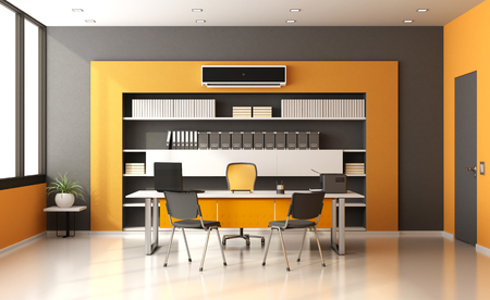 work book: Modern office with desk,chairs ,bookcase and air conditioner- 3d rendering