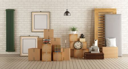 apartment: Interior moving house with cardboard boxes,bed and other objects - 3d rendering Stock Photo