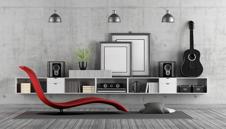 Modern room to listening to music with chaise lounge, audio system and classic guitar - 3d rendering Stock Photo