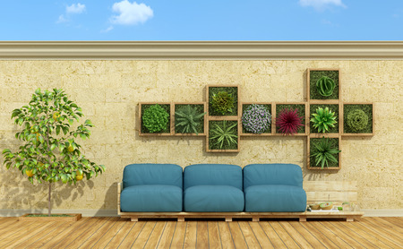 couch: Blue pallet sofa with vertical garden on stone wall - 3d rendering