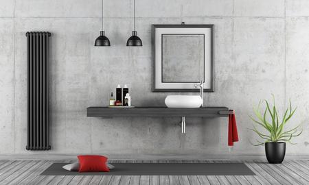 Salle de bain en béton minimaliste avec vasque rond sur étagère en bois - rendu 3D