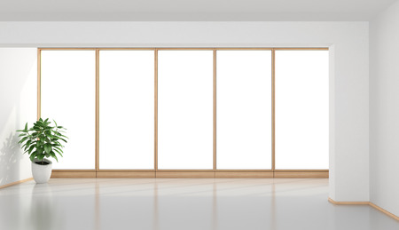 large: Empty minimalist room with white wall and large window - 3d rendering