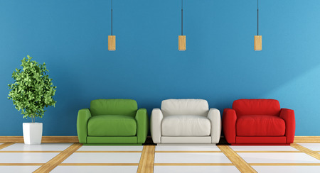 apartment: Colorful modern living room with three armchair on blue wall - 3d rendering