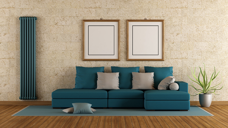 furniture design: Modern living room with blue sofa and stone wall - 3d rendering Stock Photo
