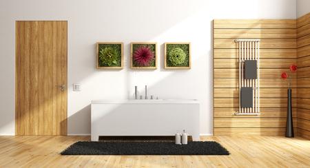 puertas de madera: moderno cuarto de baño con bañera, marco de madera en la pared con la planta y la puerta cerrada - Las 3D