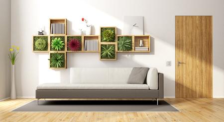 Modernes Wohnzimmer mit vertikalen Garten, Sofa und Holztür - 3d Rendering Standard-Bild - 74351514