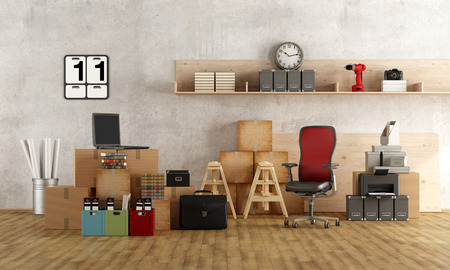 wooden floors: Interior moving office with furniture,cardboard boxes, laptop and other objects - 3d rendering