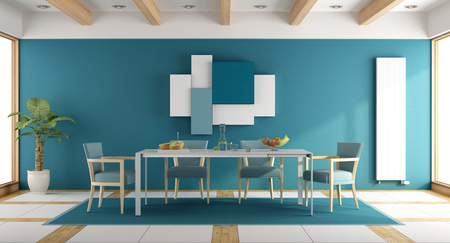 apartment: Modern blue dining room with white table and blue chair - 3d rendering