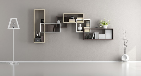 Empty living room with shelves on wall and floor lamp - 3d rendering