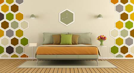 Master bedroom with hexagon decorations on wall d rendering