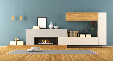 living room interior: Blue Living room with minimalist fireplace - 3d rendering Stock Photo