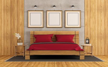 #75399384   Holz  Und Beton Wohnzimmer Mit Doppelbett Und Nachttisch    3D Rendering