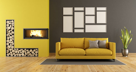 Black And Yellow Living Room With Fireplace And Modern Sofa   3d Rendering  Stock Photo